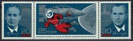 DDR 1965 - MiNr 1138-1140 - Leonow,  Raumschiff, Kosmonauten, Beljajew - Dreierstreifen - Raumfahrt