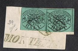 PONTIFICIO 1 BAJ   COPPIA SU FRAMMENTO SIGNED BIONDI 1852 SASSONE# 2A - Stato Pontificio