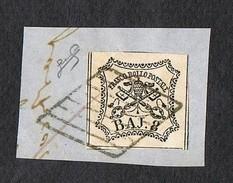 PONTIFICIO 8 BAJ  SU FRAMMENTO SIGNED BIONDI 1852 SASSONE# 9 - Stato Pontificio