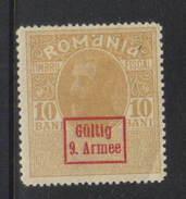 Romania Revenue - 10 Bani Gültig 9. Armee Overprint Mint Hinged