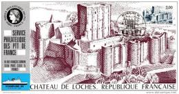 028 Carte Officielle Exposition Internationale Exhibition Stamplink 1986 France FDC Château De Loches Schloss Castle - Esposizioni Filateliche