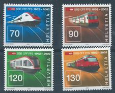 Switzerland 2002 Railways 4v - Mint Never Hinged Original Gum Post Office Fresh