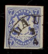 (0004)  Bayern 1868, Freimarke Staatswappen Auf Sockel, Mi. # 21 B, Einkreisstempel LAU ..... . - Bavière