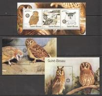 VV350 2001 GUINE-BISSAU FAUNA BIRDS OWLS 2BL+1KB MNH