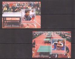 VV396 2001 GUINE-BISSAU SPORT TABLE TENNIS WORLD CUP 2BL MNH