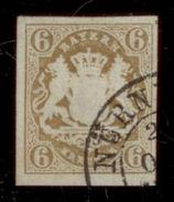(0006)  Bayern 1867, Freimarke Staatswappen Auf Sockel, Mi. # 20, Doppelkreisstempel NÜRNBERG - Bavière