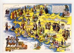 CP 10*15-UP627-BRETAGNE CONTOUR GEOGRAPHIQUE MULTIVUES LA BRETAGNE FOLKLORIQUE - Cartes Géographiques