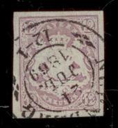 (0009)   Bayern 1867, Freimarke Staatswappen Auf Sockel, Mi. # 18 Mit Doppelkreisstempel  24.JUL.1869. - Bavière