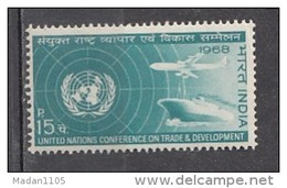 INDIA, 1968, United Nations Conference On Trade & Development, UN Emblem, Ship, Airplane, MNH, (**)