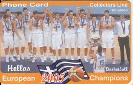 GREECE - National Basketball Team/European Champions 2005, Collectors Line Prepaid Card, Tirage 500, Sample