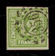 (0012)   Bayern 1862, Freimarke Wertz., Mi.#12, Off. Mühlradstempel 356. Perfekt, Markenbild An Keiner Seite Berührt. - Bavière