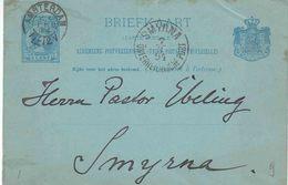 """NEDERLAND 1894 : POSTWAARDESTUK  """"AMSTERDAM 27 FEB 94""""  Naar """"SMYRNA  7.3.94 / ÖSTERREICHISCHE POST"""" - Postal Stationery"""