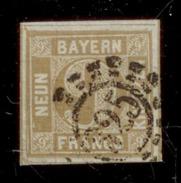 (0013)  Bayern 1862, Freimarke Wertziffer, Mi. # 11,  Offener Mühlradstempel 325. - Bavière