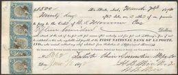 1872 LA PORTE INDIANA MULTI REVENUES FRONT AND BACK ON CHECK - Segnatasse