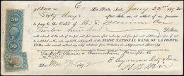 1872 LA PORTE INDIANA MULTI REVENUES ( 2 ) ON CHECK - Segnatasse