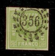 (0016)    Bayern 1850/1858, Freimarke Wertziffer, Mi. # 5, Offener Mühlradstempel # 356. - Bavière