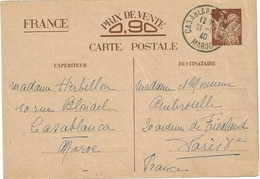 ENTIER POSTAL IRIS CP1 DE CASABLANCA MAROC POUR LA FRANCE