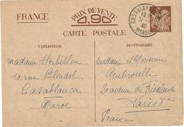 ENTIER POSTAL IRIS CP1 DE CASABLANCA MAROC POUR LA FRANCE - Ganzsachen