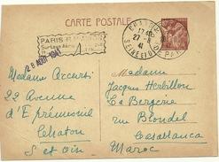ENTIER POSTAL IRIS 431 CP2 DE FRANCE POUR LE MAROC GRIFFE PARIS RP AVION OBLITERATION CHATOU DU 27/8/41 ET PARIS RP DU 2
