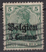N2 Belgio 1914-15 Occupazione Tedesca Viaggiati Used Overprint Belgien 5 Centimes Su 5 Pf - Deutsches Reich
