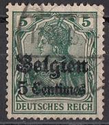 N2 Belgio 1914-15 Occupazione Tedesca Viaggiati Used Overprint Belgien 5 Centimes Su 5 Pf - Deutsches Reich - WW I