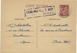 ENTIER POSTAL IRIS 431 CP2 DE CASABLANCA MAROC GRIFFE PAR AVION POUR LA FRANCE