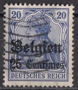 N4 Belgio 1914-15 Occupazione Tedesca Viaggiati Used Overprint Belgien 25 Centimes Su 20 Pf - Deutsches Reich
