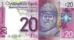 SCOTLAND 20 POUNDS 2014 P-229K AU/UNC CLYDESDALE BANK [SQ229K14] - 20 Pounds