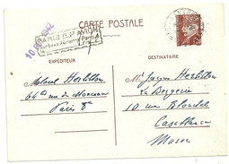 ENTIER POSTAL 1,20F PETAIN 515 CP1 CP DE FRANCE POUR LE MAROC GRIFFE PARIS RP AVION