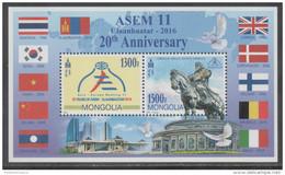 MONGOLIA, 2016, MNH, 20TH ANNIVERSARY  ASEM, FLAGS, GHENGHIS KHAAN, S/SHEET