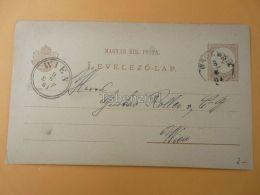 Wien Austria Szolnok Hungary Postcard 1881 - Enteros Postales