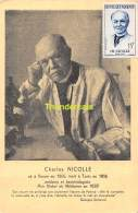 CARTE MAXIMUM FRANCE 1958 CHARLES NICOLLE CARTE POPSTALE 1ER JOUR - Cartes-Maximum