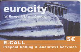GREECE - Acropolis/Athens, Eurocity By E Call Prepaid Card 5 Euro, Tirage 20000, Sample