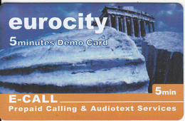 GREECE - Acropoilis/Athens, Eurocity By E Call Promotion Prepaid Card(5 Min), Tirage 2000, Sample