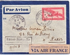 FRENCH INDOCHINE  COVER  TUYEN- QUANG,  TONKIN-FRANCE  1935 - Indochina (1889-1945)
