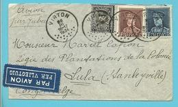 "320++321+384 Op Brief Per Luchtpost (par Avion) ""Par JUBA"" Met Stempel VIRTON Naar Congo-Belge - 1931-1934 Kepi"