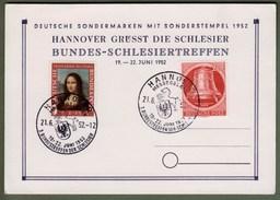 """Bund + Berlin: Sonderkarte Mi.-Nr. 148 Mona Lisa + B. 84 Glocke Re. SST: """"Schlesiertreffen 1952"""" !      X"""