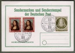 "Bund + Berlin: Sonderkarte 2x Mi.-Nr. 148 Mona Lisa + B. 82 Glocke Re. SST: ""Sondermarken 1952"" !      X"