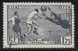 France, Scott # 349 Used Soccer Players, 1938, Round Corner