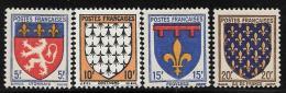 France, Scott #460-3 Mint Hinged Set Coats Of Arms, 1943