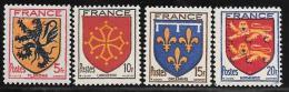 France, Scott #467-70 Mint Hinged Set Coats Of Arms, 1944