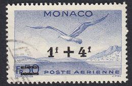 MONACO - 1945 -  Yvert Posta Aerea Yvert 11 Usato, 1 + 4 F Sovrastampato Su 50 F, Oltremare.