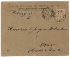 Luxembourg - Allegorie - 50c S.P. OFFICIAL - 1893 Cover To France - Parquet De La Court Of Justice