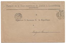 Luxembourg - Allegorie - 50c S.P. OFFICIAL - 1890 Cover To France - Parquet De La Court Of Justice