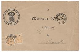 Luxembourg - Allegorie - 20c S.P. OFFICIAL (2) - 1887 Cover To Belgium - Procureur General D'Etat