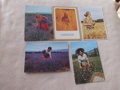 LOT DE 5 CARTES BELLES FEMMES DANS LES CHAMPS - Cartes Postales