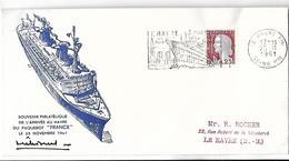 Souvenir Philatélique De L'Arrivée Au Havre Du Paquebot FRANCE  LE 23 NOVEMBRE 1961