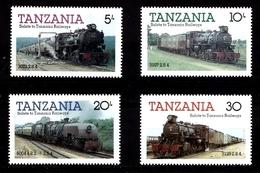 Série De Timbres Neufs ** MNH - Tanzanie 1985 - Trains - Anciennes Locomotives à Vapeur