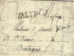 1776- Letter From  VALENCIA  Black  To St Brieuc ( Bretagne )  Rating 25 Sols - Writen From Latours Vielle - ...-1850 Voorfilatelie