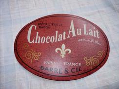 PLAQUE METAL AU CHOCOLAT AU LAIT BARRE & CIE / 31.8 X 23 Cm Environ - Plaques En Tôle (après 1960)